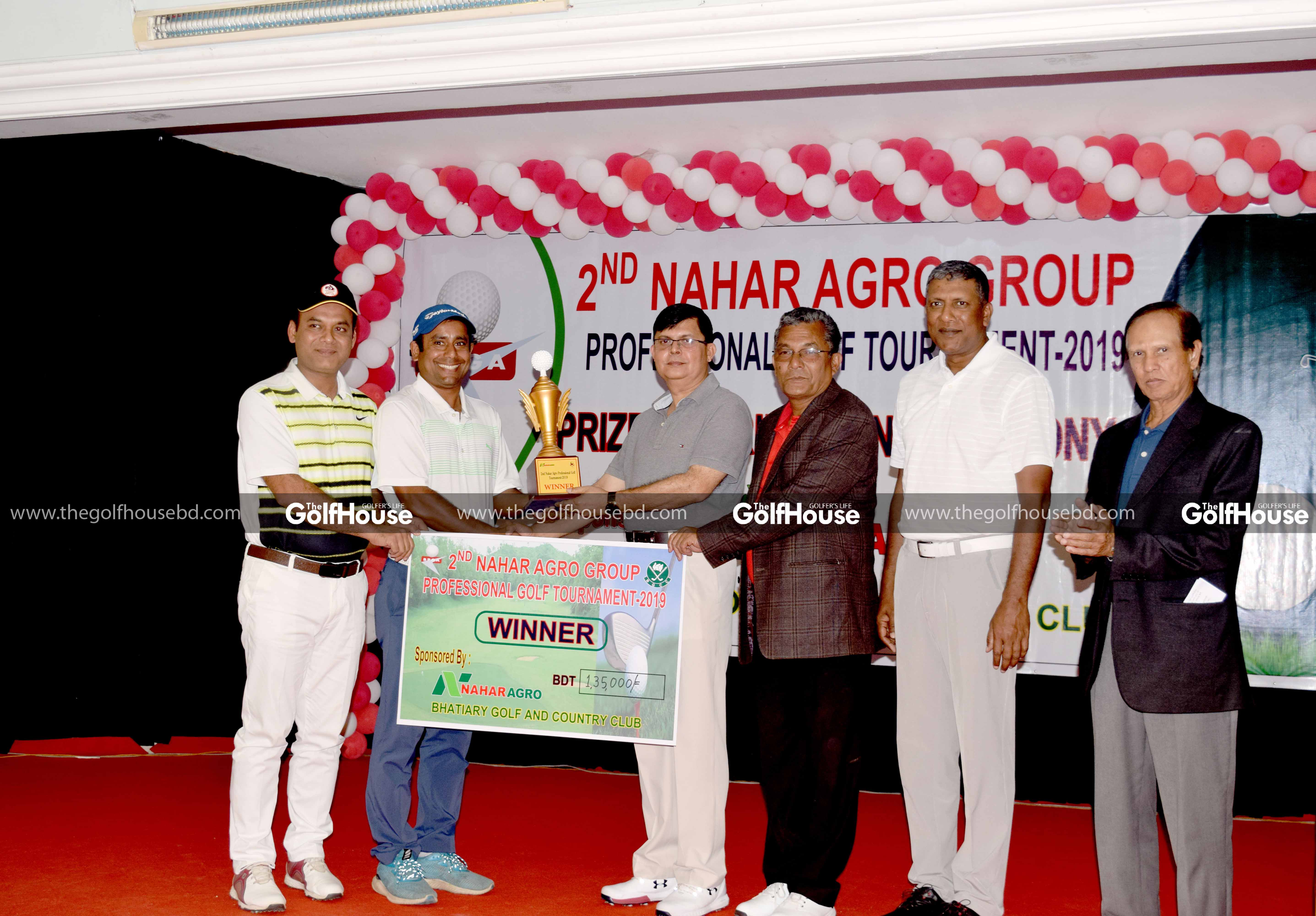 Bangladesh's 2nd highest ranked player Md Shakhawat Hossain wins the Nahar Agro Group Pro Tournament by 3 shots at the scenic Bhatiary Golf and Country Club.